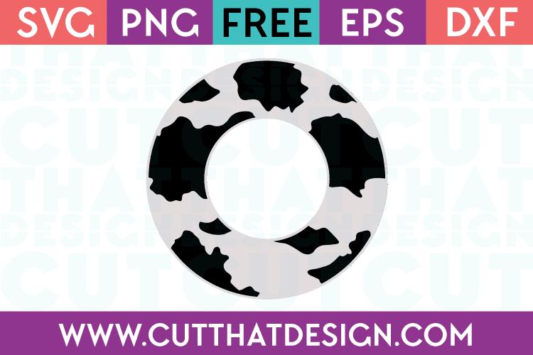 Free Cow Print Monogram Circle Frame SVG
