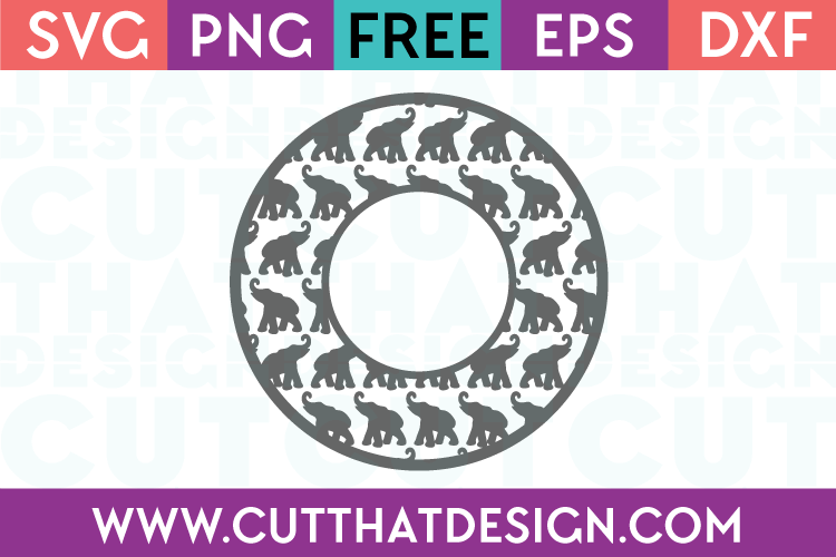 Elephant Monogram Frame SVG