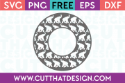 Elephant Circle Frame SVG for Silhouette Cameo