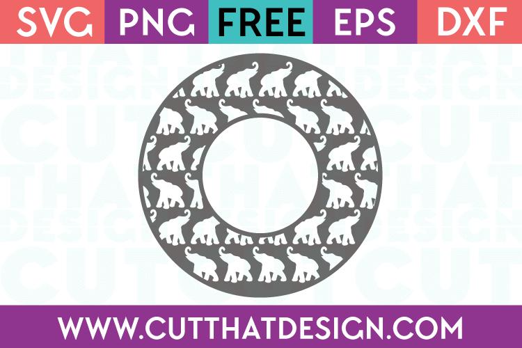 Elephant Circle Frame SVG for Silhouette Cameo
