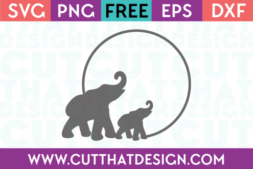 Elephant SVG Circle Frame for Cricut