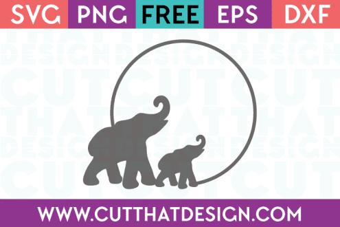 Elephant SVG Circle Frame for Cricut