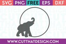 SVG Elephant Free Cutting File Circle Frame