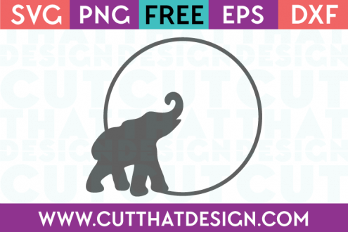 SVG Elephant Free Cutting File Circle Frame
