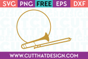 Trombone Monogram Circle Frame SVG