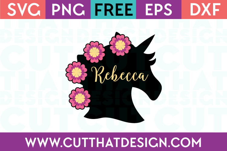 Free SVG Files | Unicorn Head Silhouette with Flowers Design