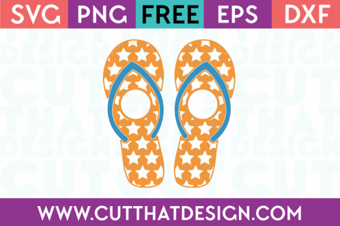 Monogram Star Pattern Flip Flop SVG