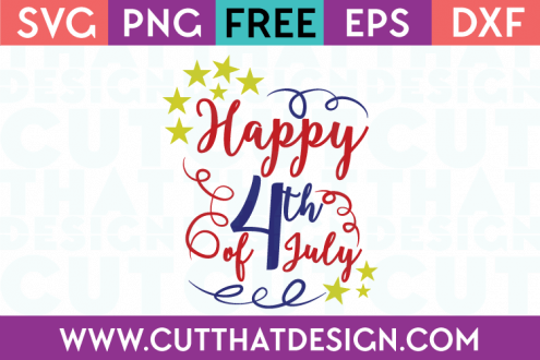 Free SVG Files Happy 4th July Quote Design