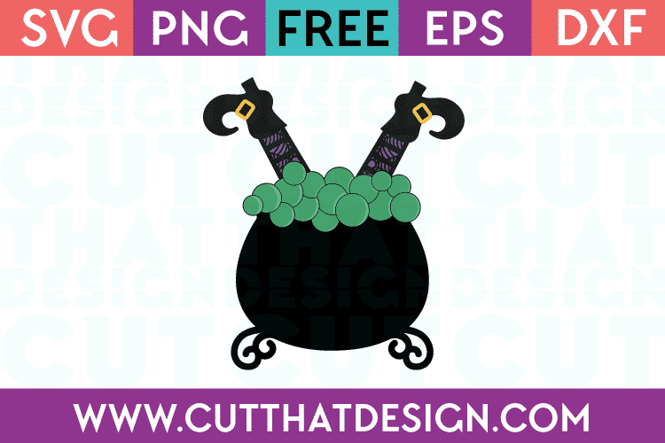 Witch in Cauldron SVG Cutting File Free