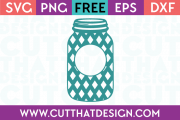 Cut That Design Monogram Mason Jar Diamond Pattern SVG