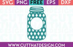 Cut That Design Monogram Mason Jar Diamond Pattern SVG
