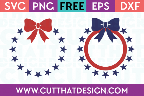 Free SVG Files Star Circle Monogram Frame with Bow Designs
