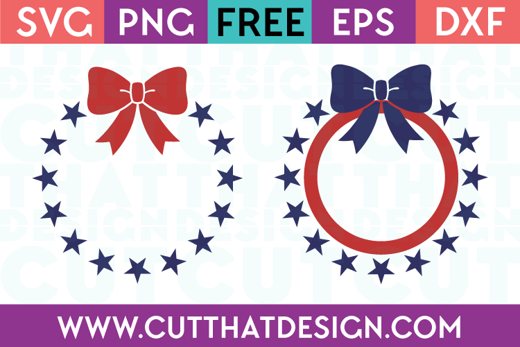 Free Svg Files Star Circle Monogram Frame With Bow Designs Cut That Design
