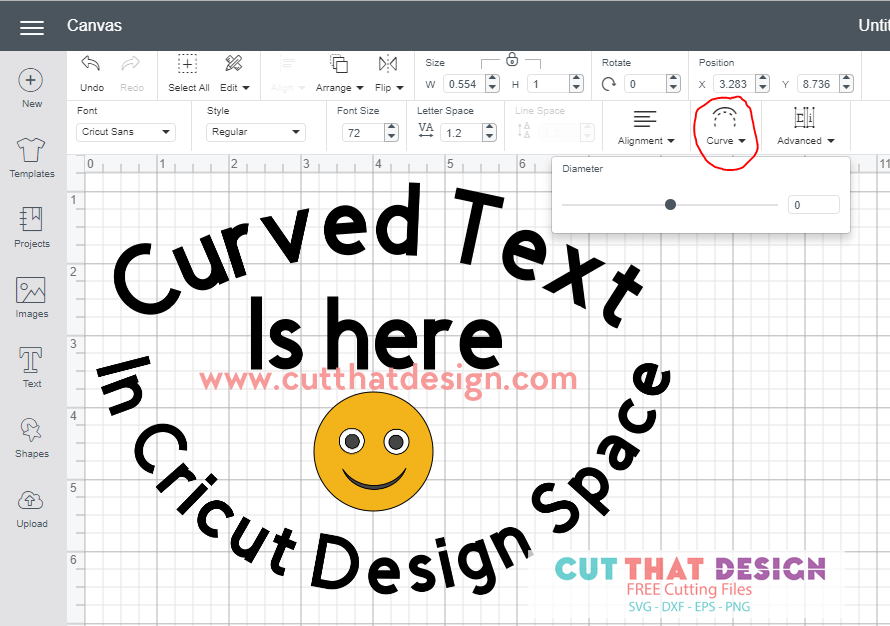 where is the curve tool in cricut design space
