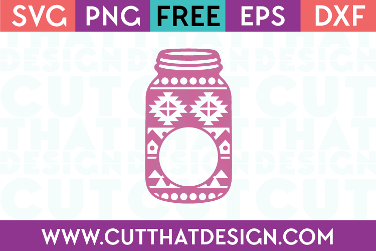 Aztec Pattern Mason Jar Monogram Design