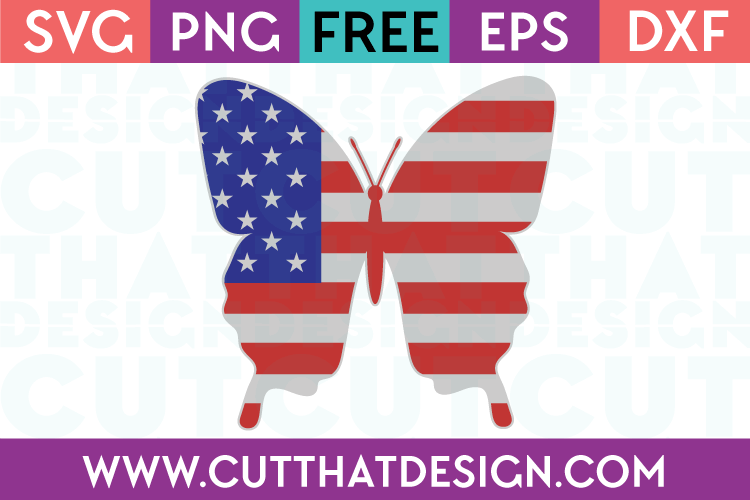 Free SVG Files Butterfly US Flag Design