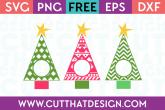 Free SVG Christmas Tree Monogram Designs Set