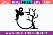 Spooky Ghost and Tree Free SVG Cutting File