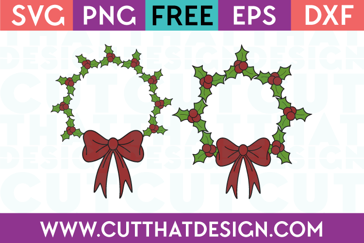 Holly Wreath Circle Frame SVG