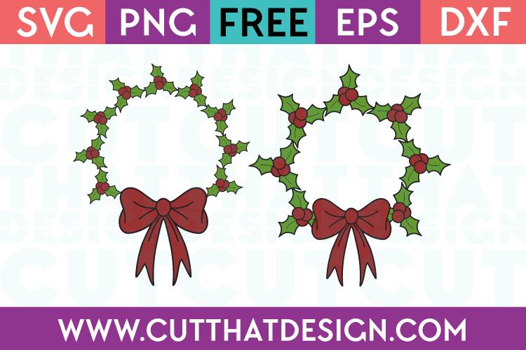 Holly Wreath Circle Frame SVG