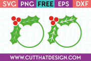 Holly Circle Monogram Frame SVG Files