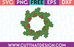 Christmas Holly Wreath Circle Frame SVG