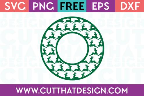 Reindeer Circle Frame SVG Free