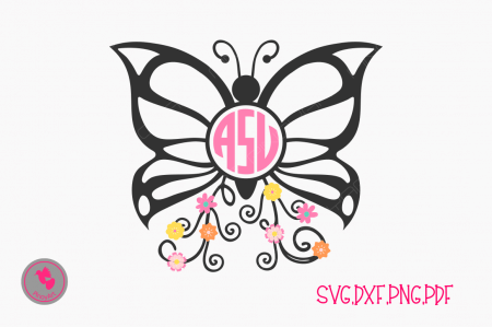 butterfly monogram svg