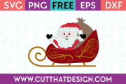 Santa in his Sleigh Free SVG