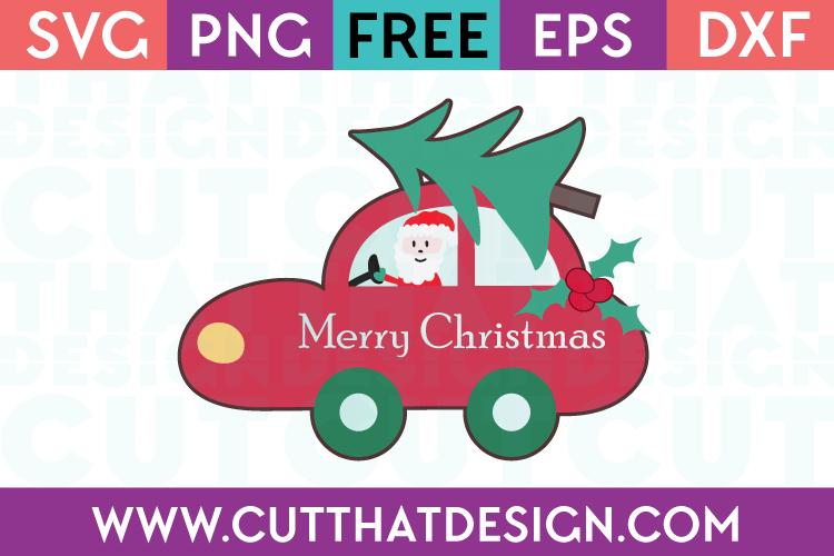 Santa Car with Merry Christmas Text, Christmas Tree and Holly