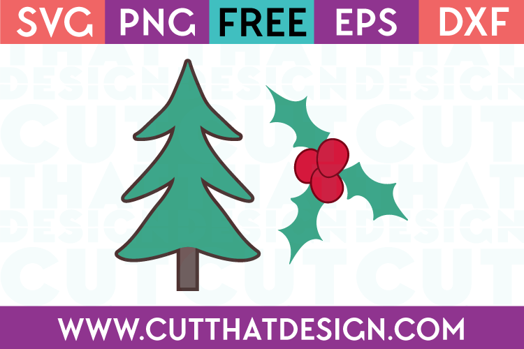 Christmas Tree and Holly Free Cut File