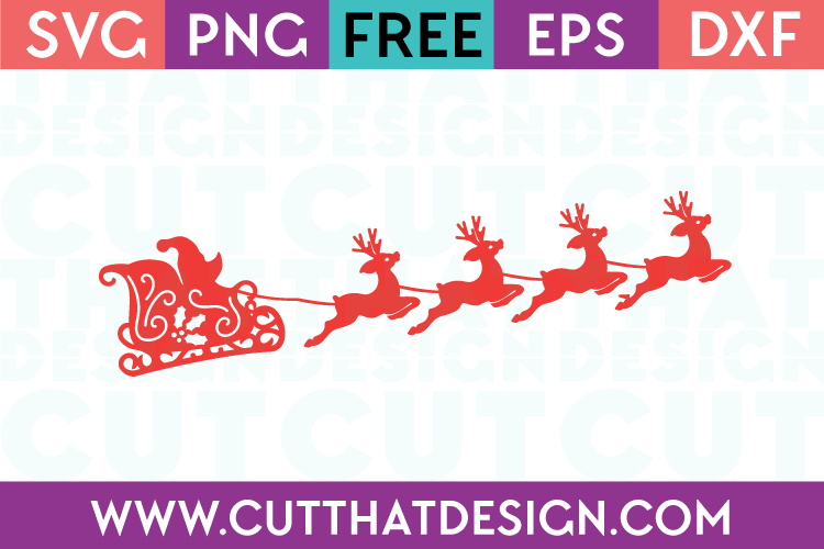 Santa Sleigh and Reindeers SVG