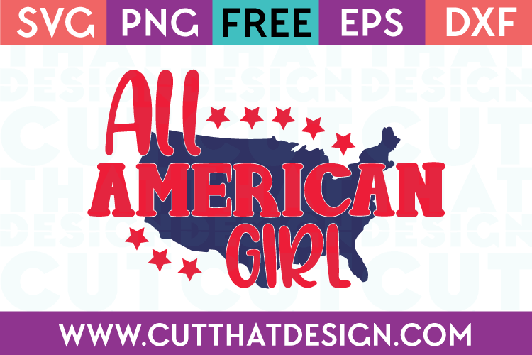 All American Girl Phrase Quote Design