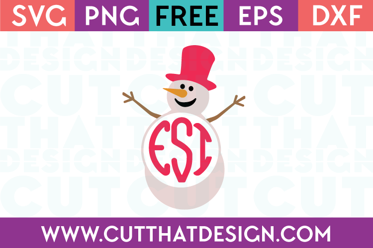 Free Snowman Monogram SVG Cut File