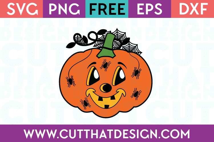 Spider Web and Pumpkin Free SVG Cut File