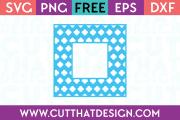 Flower Clover Monogram Square Frame Free SVG Cutting File