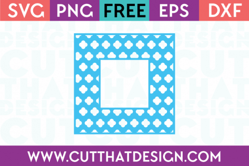 Flower Clover Monogram Square Frame Free SVG Cutting File