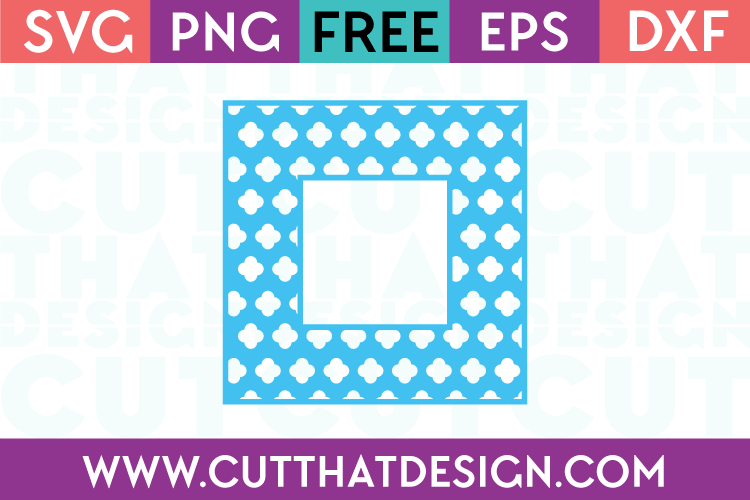 Free SVG Files Flower Clover Monogram Square Frame