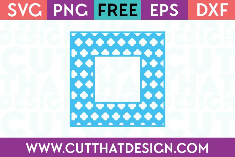 Free SVG Files Flower Clover Monogram Square Frame
