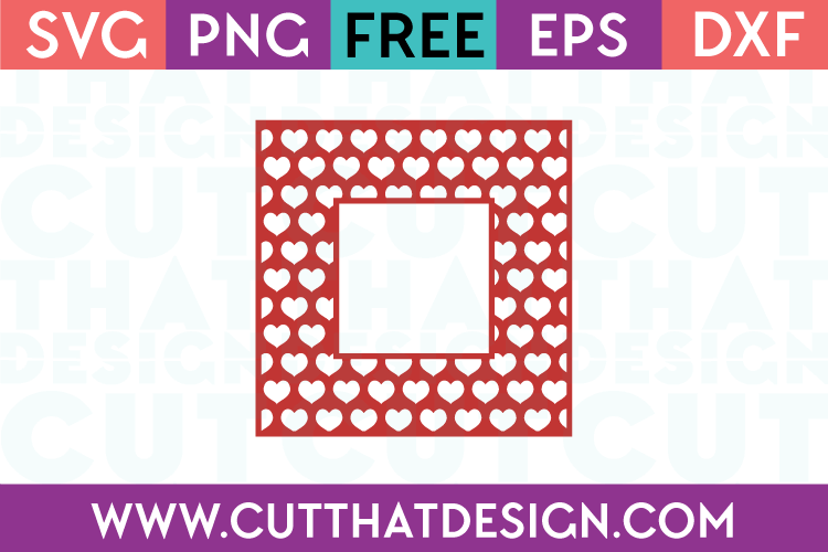 Free Heart Pattern Square Frame SVG Cutting File