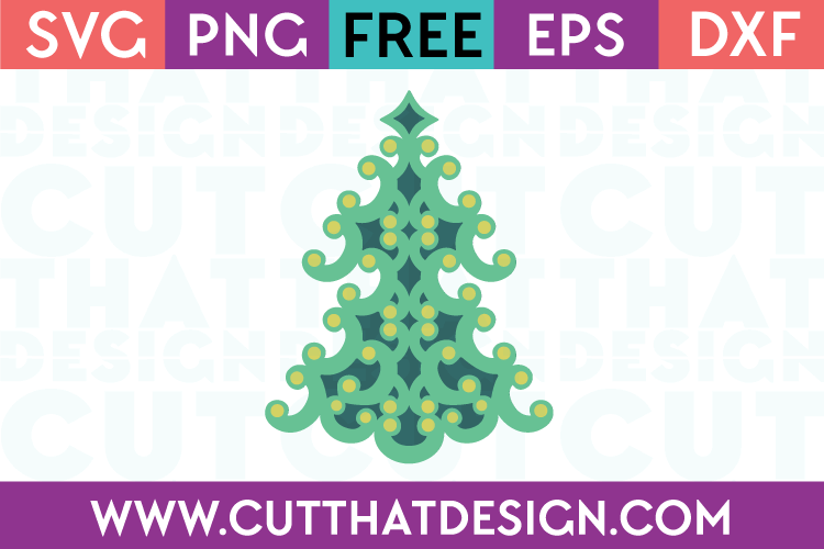 Free SVG Files Swirly Christmas Tree