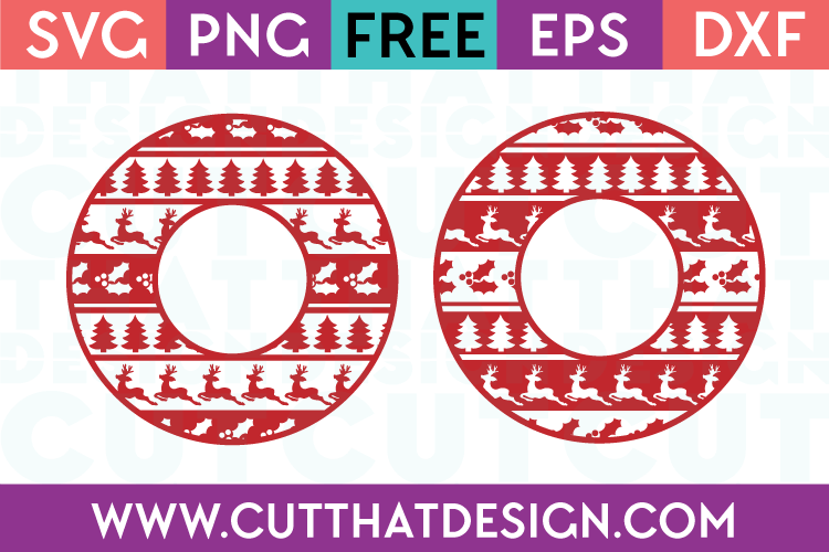 Free SVG Christmas Ugly Sweater Circle Frame