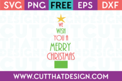 Free SVG We Wish you a Merry Christmas Tree Design