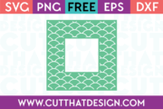 Free SVG Mermaid Pattern Square Frame
