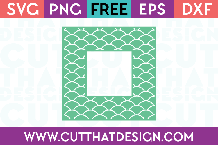 Free SVG Mermaid Pattern Square Frame