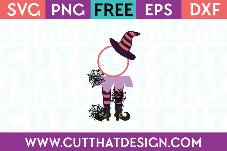 Free SVG Files Witch Legs and Hat Circle Monogram Design