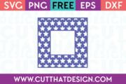 Free Star Pattern Square Frame SVG Cut File