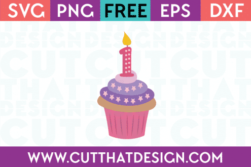 Free SVG Cupcake Candle Number 1