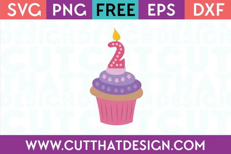 Free SVG Cupcake Candle Number 2