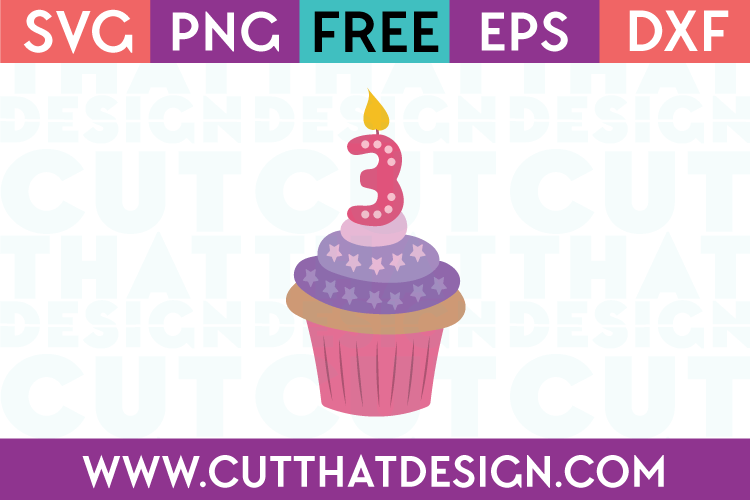 Free SVG Cupcake Candle Number 3